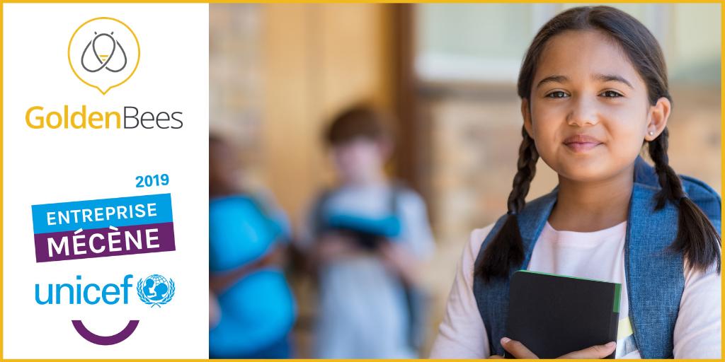 Golden Bees entreprise mécène, s'engage auprès de  l'UNICEF pour l'éducation et l'avenir de l'emploi.