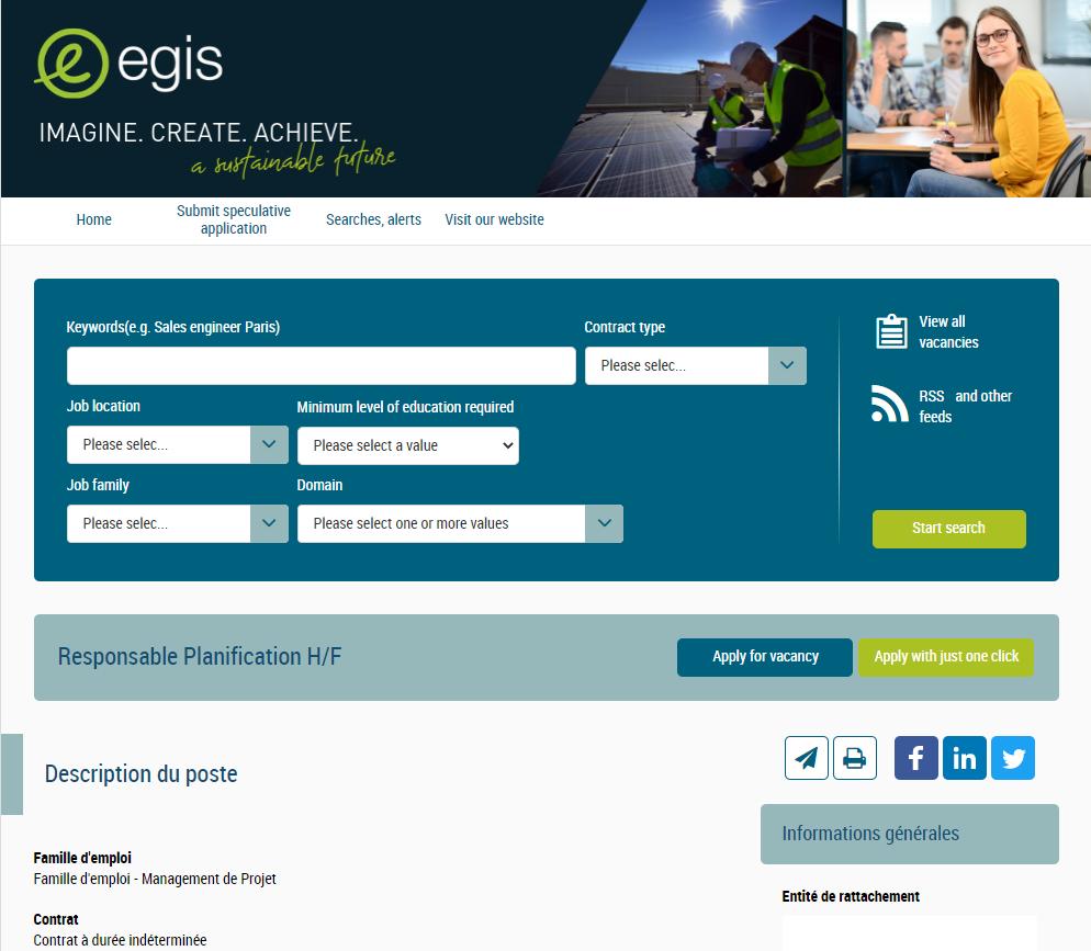 Groupe Egis page de candidature