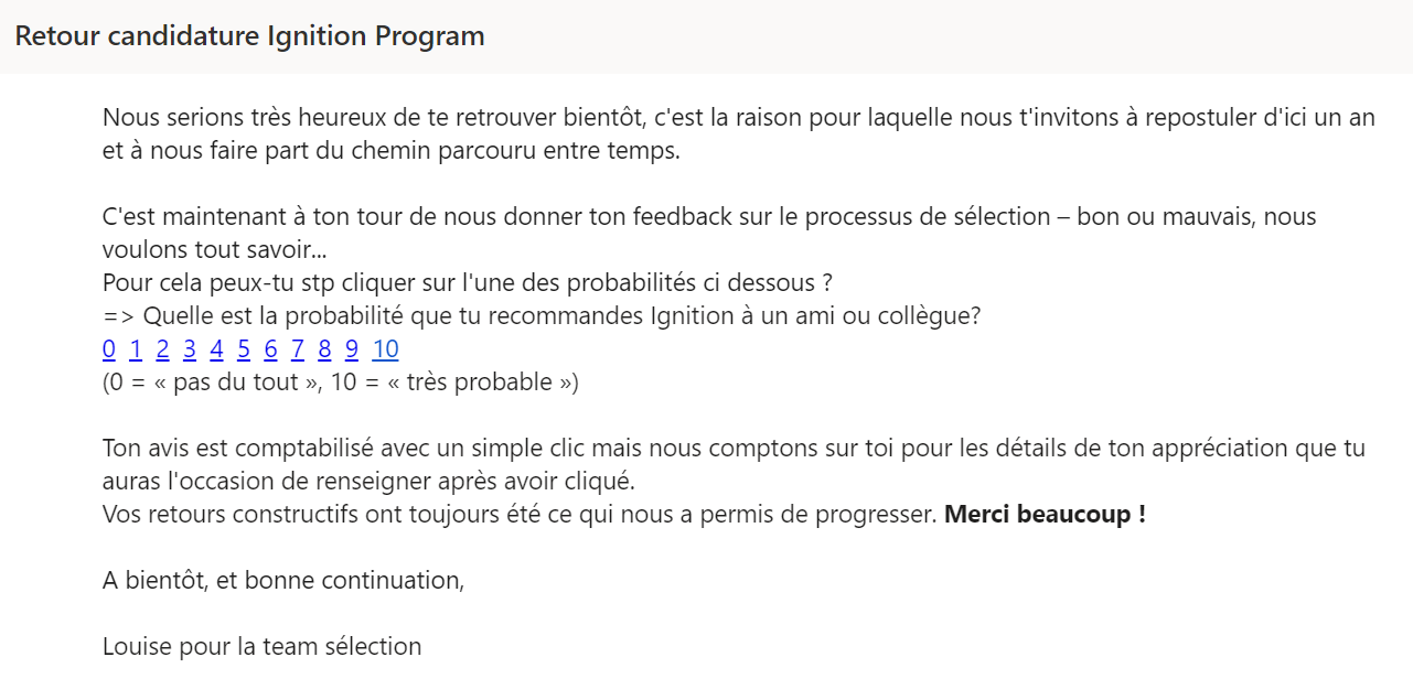 Retour candidature Ignition Program