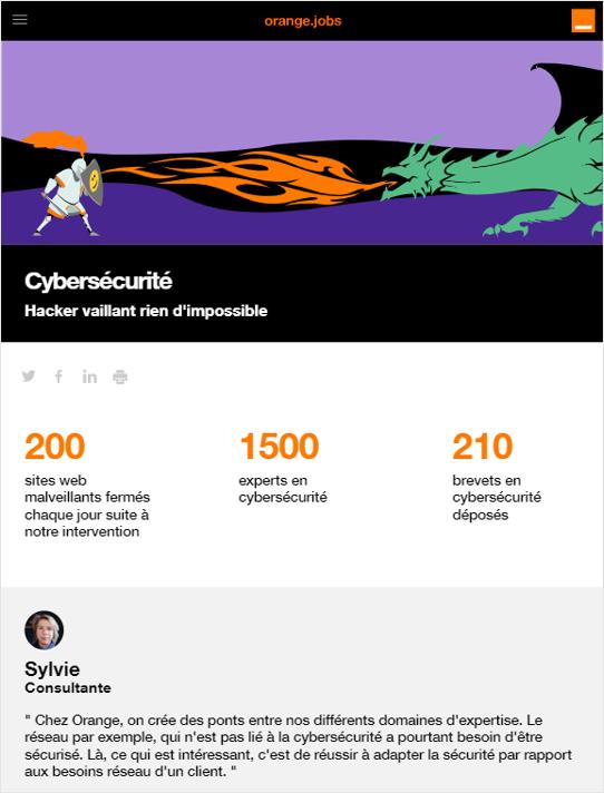Page carrière cybersécurité Orange