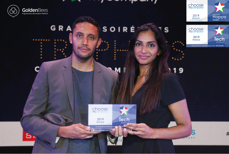Golden Bees obtient le 1er prix TechAtWork 2019 qui distingue les startups où les salariés IT sont les plus motivés et heureux